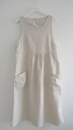 Linen Dress with Patch Pockets
