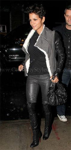 Halle Berry Style and Fashion - Helmut Lang Chasm Shearling Jacket - Celebrity Style Guide