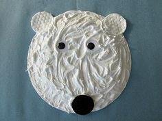 A puffy paint (glue and non-menthol shaving cream) paper plate polar bear!