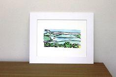 Tropical island original linocut print by Yoliprints on Etsy