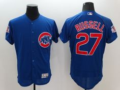 Mens Chicago Cubs 2016 New #27 Addison Russell Blue Flexbase Collection Baseball Jersey Embroidery