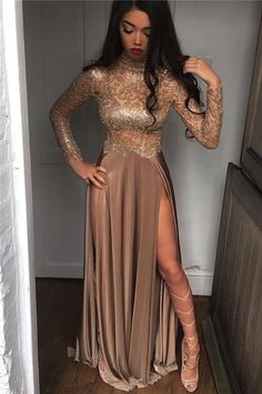 High Sheer Neck Prom Sexy Slit Dresses Side Party Dresses