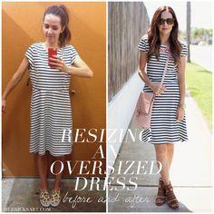 Merricks Art: RESIZING AN OVERSIZED DRESS (TUTORIAL): whata smart idea when a cute dress is too short... buy a larger size!!!