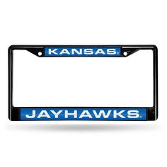 Kansas Jayhawks Ncaa Black Chrome Laser Cut License Plate Frame