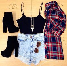 Flannel, crop top, and high waisted shorts! Cute!