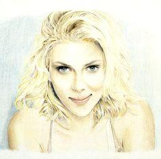 Scarlett Johansson color pencil drawing