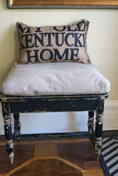 Burlap Quincy Pillow -  My Old Kentucky Home - state song - fathers day