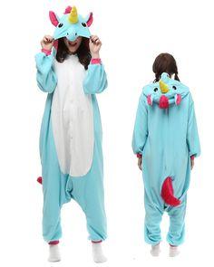e2e7caabf5 Blue Unicorn Kigurumi Onesie Pajamas Polar Fleece Animal Unisex Costumes