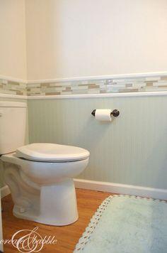 Room Makeover powder-room-remodel- LOVE the detail; white bottom,color on top.powder-room-remodel- LOVE the detail; white bottom,color on top. Bathroom Renos, Bathroom Ideas, Bathroom Beadboard, Wainscoting, Wainscoating Bathroom, Bathroom Pics, Bathroom Cabinets, Bath Ideas, Decorating Bathrooms