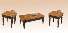 Country Black Oak Wood 3pc Coffee Table Set w/Square End Table