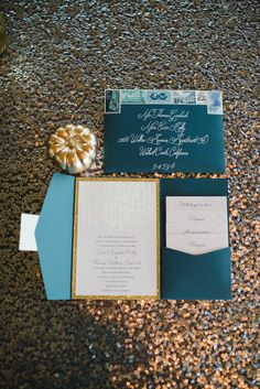 deep blue and gold wedding invitations
