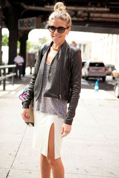 black leather jacket + grey tee + white skirt
