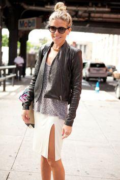 pencil skirt, casual grey top, leather jacket, sunnies, top knot pinterest.com/sahstarr