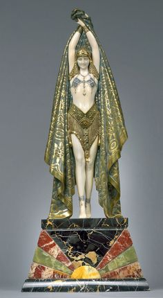 DEMETRE H. CHIPARUS (1886-1947)  'Antinea' A Cold-Painted and Patinated Bronze and Ivory Figure, circa 1928** on marble and onyx base