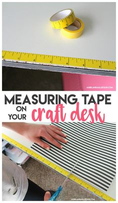 Measuring Tape on your craft desk This post may contain affiliate links! Yesterday I was getting a post ready that involved some fun washi tape. and as I was pulling off some washi from my new organizer, My measuring tape washi tape fell down onto my des Sewing Room Organization, Craft Room Storage, Craft Room Organizing, Organization Ideas, Organized Craft Rooms, Sewing Room Decor, Craft Room Decor, Cricut Craft Room, Organizing Life