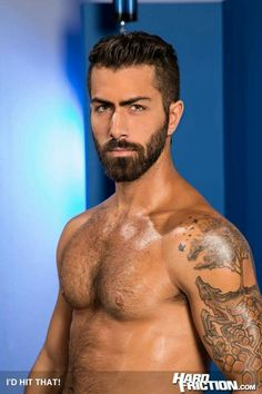 """Masculine studs Adam Ramzi and Wesley Woods fuck each other in """"I'd Hit That!"""" from Raging Stallion. Watch the free video trailer inside. Video Trailer, Male Poses, Big Boys, Rage, Porn, Stars, Sexy, Man With Beard, Sterne"""