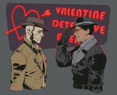 Fallout Nick Valentine and Sole Survivor. Fallout Fan Art, Fallout Meme, Fallout 4 New Vegas, Valentines Tumblr, Scrolls Game, Bioshock Cosplay, Fall Out 4, Gurren Lagann, Paladin