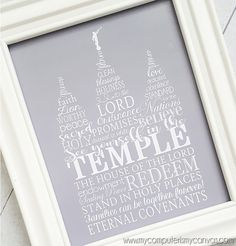 I love to see the temple! Unlike a regular temple print, this one is formed using words that describe the temple - a great focal point to have in your home. Print and frame one of the larger sizes for family, then print/frame the smaller ones for gifts, FHE or lesson handouts... great for Primary Kids and YW too!  INCLUDED IN THIS LISTING: This listing includes the LDS TEMPLE Subway Art image {shown above} in 3 color variations; each color in 5 standard photo sizes: 4x6, 5x7, 8x10, 11x14…