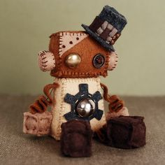 Steampunk Robot Plush Doll with Vintage Buttons Gear by GinnyPenny