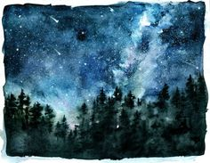 "antais: ""Speed watercolor night sky. """