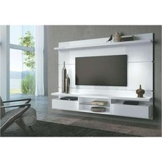 Painel Para TV com Bancada Suspensa Livin 2.2 HB Móveis - Branco