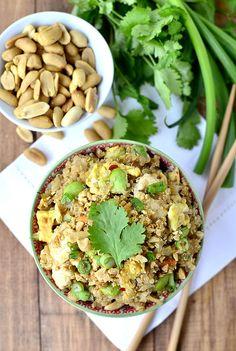 From Iowa Girl Eats, Thai peanut chicken quinoa bowls.