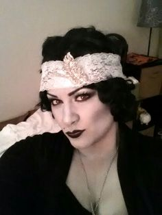 Halloween Makeup. Silent film star. Roaring 20's..  Flapper. 1920's.  Black and white makeup.  Grayscale.
