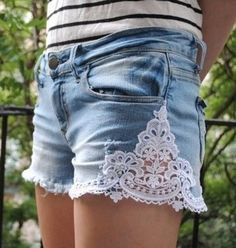 denim shorts with lace inset on seams