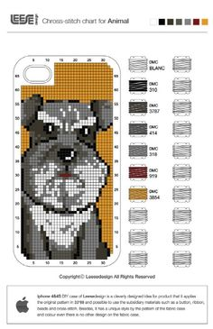 Cross stitch iPhone case pattern: Schnauzer!