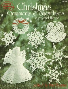 PHOTO ONLY  ~ ''Christmas Ornaments & Snowflakes in Crochet Thread''  | eBay