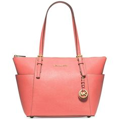 Michael Michael Kors Jet Set East West Top Zip Tote (8.900 RUB) ❤ liked on Polyvore featuring bags, handbags, tote bags, pink grapefruit, handbag tote, michael kors handbags, pink leather tote, red leather purse and michael kors purses