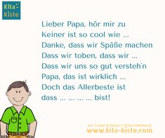 """Father's Day poem saying – from """"Lieder & Reime the daycare songbook of the KitaKi … - Valentinstag Presents For Boyfriend, Gifts For Husband, Fathers Day Poems, Kindergarten Portfolio, Woodland Party, Stress Free, Writing A Book, Sayings, Reading"""
