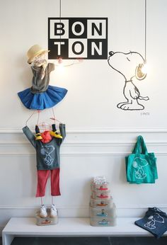Collaboration Bonton + Peanuts // T-shirt, sweatshirt, valises et tote bag