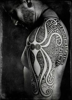 Minoan Squid are common tropes in ancient Greek artwork and a prominent feature of this sleeve by Peter Walrus Madsen.