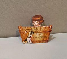 Vtg Valentine Card Pretty Little Girl Wood Bath Tub Fox? Terrier Dog Wash Board   | eBay