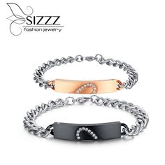Rose gold & Black color heart design bracelets for women and men the price of one piece stainless steel bracelet