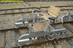 Draisine - on rails. In the United States, motor-powered draisines are known as speeders while human-powered ones are referred as handcars. Vehicles that can be driven on both the highway and the rail line are called hy-rails, or more properly, road-rail vehicles.