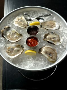 oysters on the half shell with 2 sauces