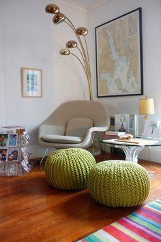 Crocheted pouf pillows.