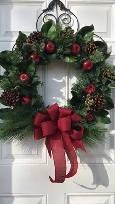 CLASSIC & TASTEFUL ARE TWO WORDS TO DESCRIBE THIS WREATH Christmas Swags, Xmas Wreaths, Outdoor Christmas, Christmas Arrangements, Christmas Centerpieces, Xmas Decorations, Christmas Crafts, Christmas Ornaments, Creations