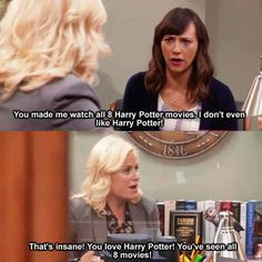 Parks and Rec...pretty sure I force people to watch these too...while I have on my gryffindor scarf and have my hermione wand in hand...
