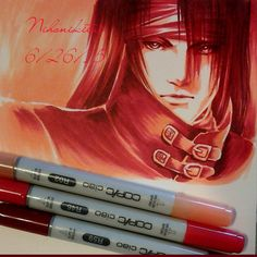 Pretty happy with this piece that I did for a challenge to use the color red. Vincent Valentine all in red. The markers pictured are the only ones I used to do this piece. Hope you enjoy it. Credit...