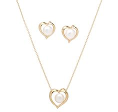 Brilliant love! Sterling Silver Freshwater Pearl Heart Pendant & Earrings Set for MOTHERS DAY,