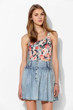 Kimchi Blue Zigzag Floral Cropped Top #urbanoutfitters