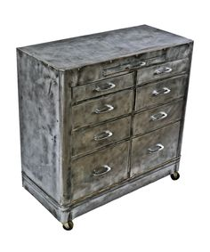 refinished c. 1940's american industrial brushed cold-rolled steel multi-drawer hospital room cabinet with fully functional bassick swivel casters