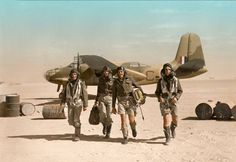 """Douglas Boston Mark III, W8376 'C', of No 24 Squadron, South African Air Force,Zuara airfield in Libya. ( """"colourised"""" image of a B&W  Imperial War Museum Photo)"""