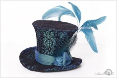 Turquoise Dream Blue and Black Lace Mini Top Hat by ~Elorhan on deviantART