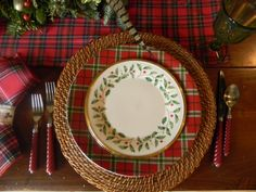 tartan and holiday with woven charger