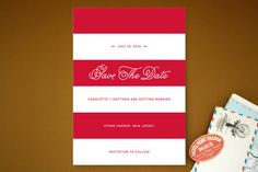 Nautical Nuptial Stripes Save the Date Cards by 24th and Dune at minted.com