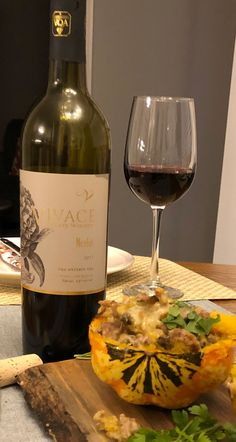 Vivace Estate Winery 2017 Merlot with Turkey Mushroom Apple Stuffed Acorn Squash. Stuffed Mushrooms, Stuffed Peppers, Acorn Squash, Apple Crisp, Ground Turkey, Brewery, Red Wine, Clean Eating, Essex County
